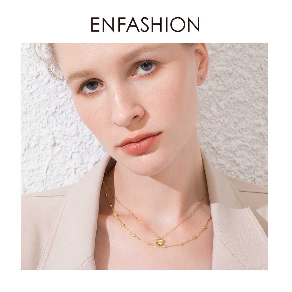ENFASHION Boho Heart Choker Necklace Women Statement Stainless Steel Double Chain Cute Holiday Necklaces Fashion Jewelry P193026