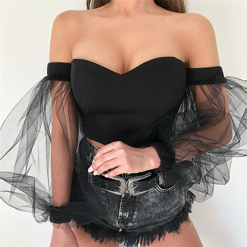 Off Shoulder Top Fashion Women Mesh Puff Long Sleeve Blouse T Shirt 2019 Summer Fall Spliced Slash Neck Pullover Clothes Stylish