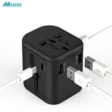 Universal Travel Adapter International Multi Elektrische Plug 2 Zekering Sockets Outlets Charger Met Type C 3 Usb Poorten Opladen