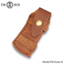 TwoSun Folding Pocket Knife Flashlight Sheath Brown Genuine Leather Sheath Pouch Pocket Holster Belt Loop Multi Tool Case-S