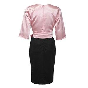 Image 4 - Md 2020秋冬プラスサイズドレスアフリカ女性ピンクブラックパッチワークドレスエレガントなオフィスの女性のドレスvネックパーティーローブ