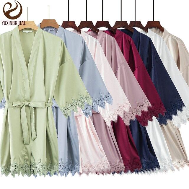 YUXINBRIDAL 2019 New Matt Satin Lace Robe with Trim Gown Bridal Wedding Bride Bridesmaid Kimono Robe Bathrobe Satin Robes Women