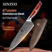XINZUO-cuchillos de Chef de acero damasco de 8,5 pulgadas, cuchillos de cocina japoneses, cuchillos de acero inoxidable Damasco VG10 con mango de madera de rosa