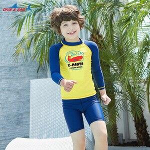 Image 5 - Dive & Sail dla dzieci chłopcy strój kąpielowy pływanie garnitur 2 sztuka zestaw UV50 + ochrona przed słońcem dla 3 9Y dzieci rashguardy surfowania plażowe stroje kąpielowe