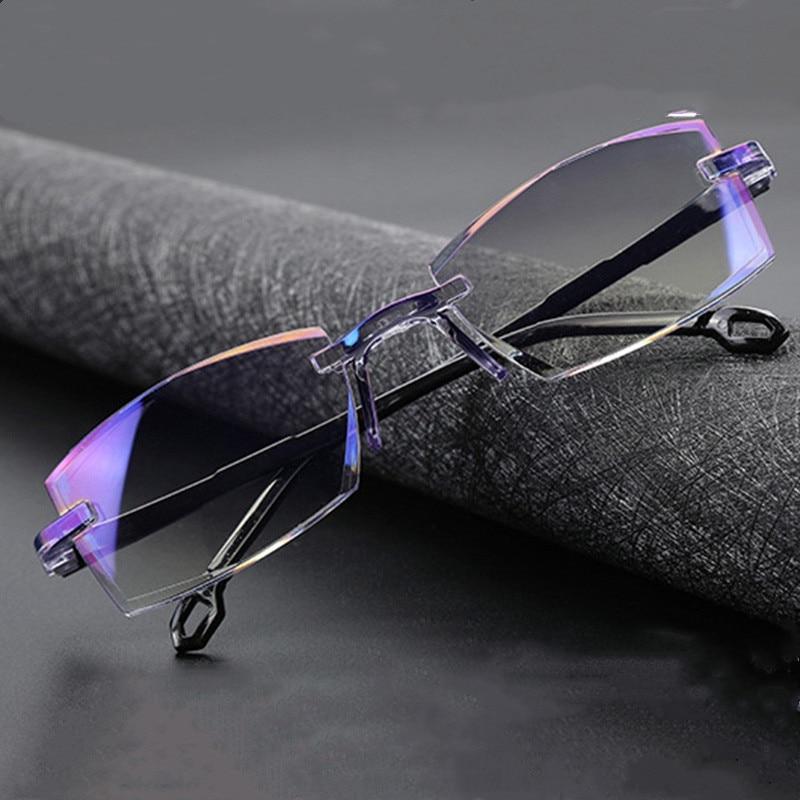 Bifocal Far Near Anti Blue Light Reading Eyeglasses Magnification Eyewear Presbyopic Glasses Diopter Dimond Cutting+1.0 To +4.0