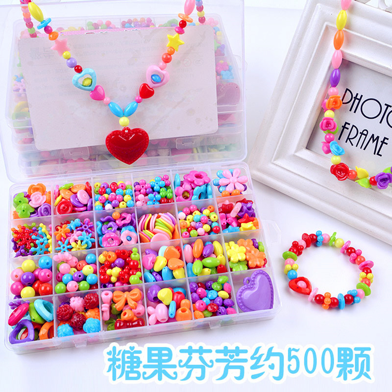 Plastic Acrylic Bead Kit Accessories DIY Bracelets Jewelry Making Toys Early Learning Puzzle Beads Set For Girls Handmade Gift