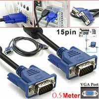 0.5M VGA Maschio a Maschio Cavo SVGA Cavo del Monitor 15 Spilli PC Del Computer Spina Blu