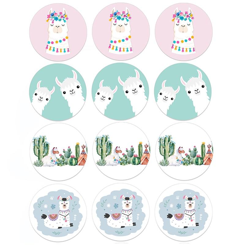24/48PCS Llama Cactus Stickers Adhesive Stickers DIY Decoration Cartoon Cute Alpaca Birthday Mexican Party Decoration Sticker
