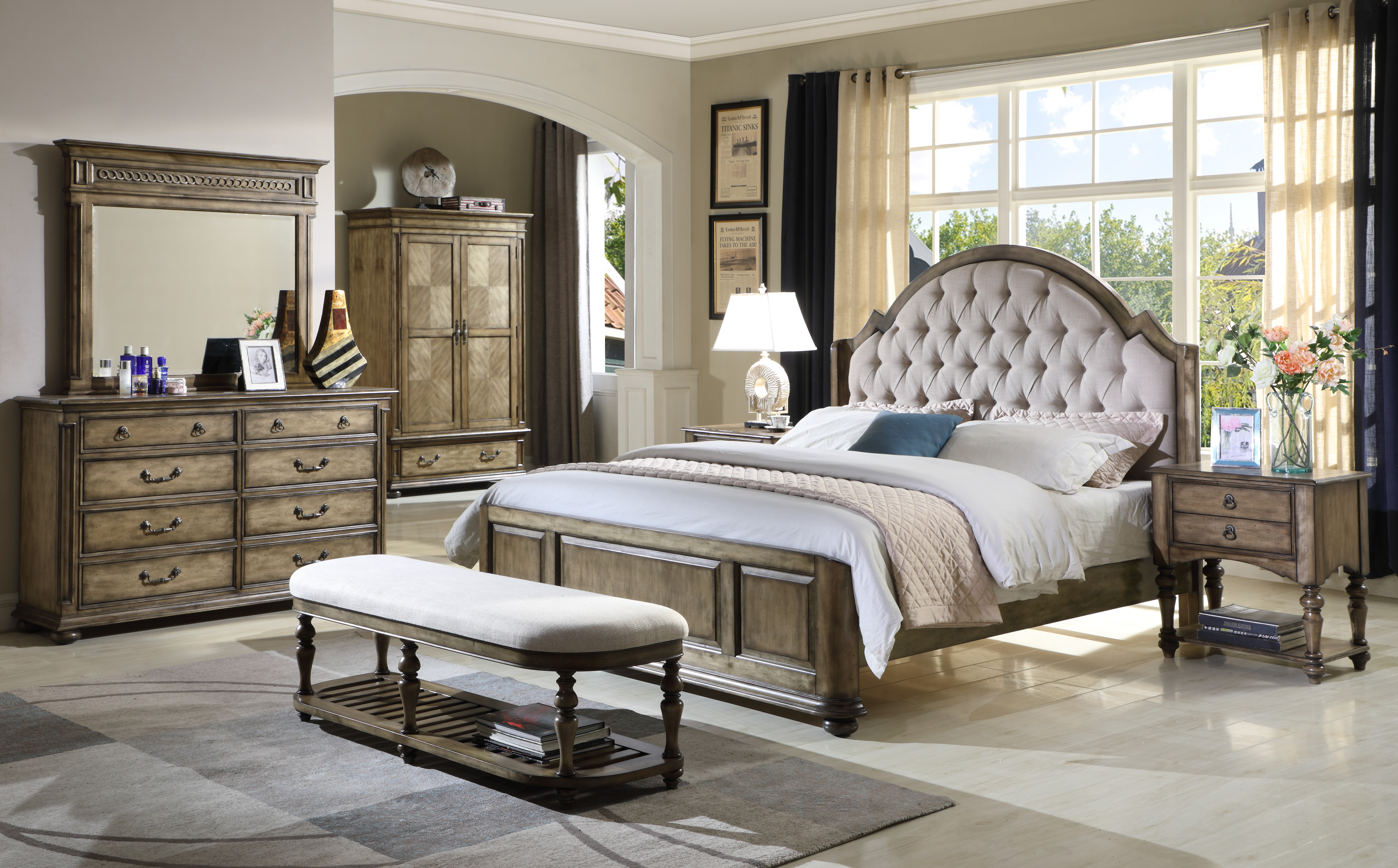 Antique wooden bedroom set furniture king queen size bed wardrobe and chest  of drawers