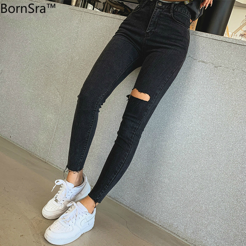 BornSra 2019  Sexy High Waist Tassel Ripped Holes Denim Pants Female Trousers Pencil Jeans Women Skinny Pants Black Jeans