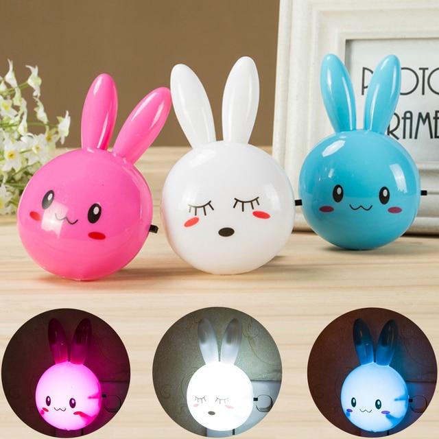 Dessin animé lapin LED veilleuse interrupteur de AC110 220V lampe de nuit murale avec nous Plug cadeaux pour enfant/bébé/enfants chambre lampe de chevet