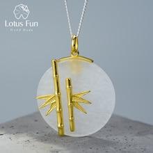Lotusสนุกจริง 925 เงินสเตอร์ลิงธรรมชาติสร้างสรรค์Handmade Designerเครื่องประดับที่ไม่ซ้ำกันไม้ไผ่สดจี้สร้อยคอ