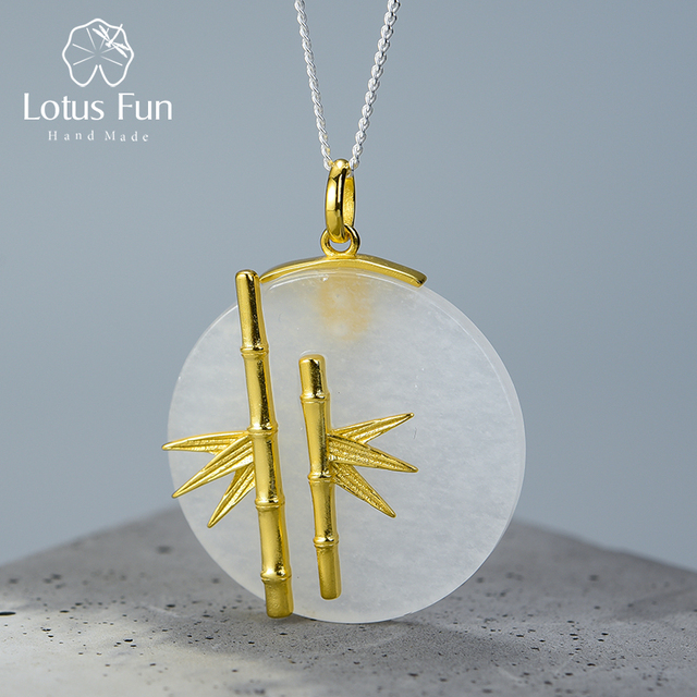 Lotus Fun Real 925 Sterling Silver Natural Creative Handmade Designer Fine Jewelry Unique Fresh Bamboo Pendant without Necklace