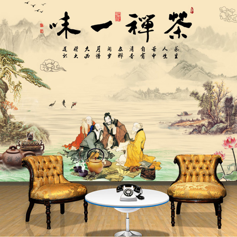 Chinese Style Classical Large Mural Chinese-style Zen Tea Blindly Tea Culture Teahouse Decoration Background Wallpaper