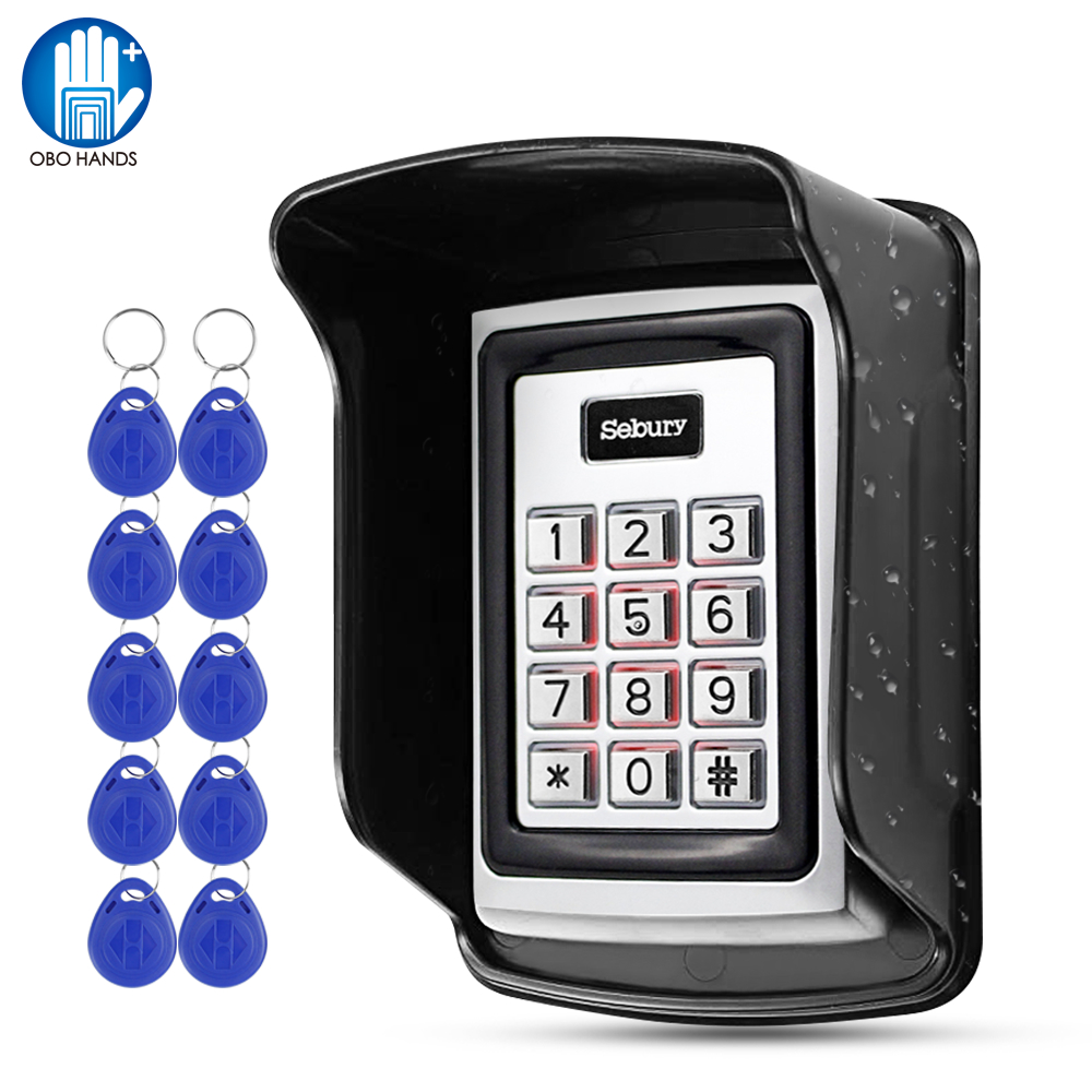 Sebury RFID Keyboard Metal Access Control Keypad Waterproof Cover Outdoor Door Opener Electronic Lock System 10pcs EM4100 Keyfob