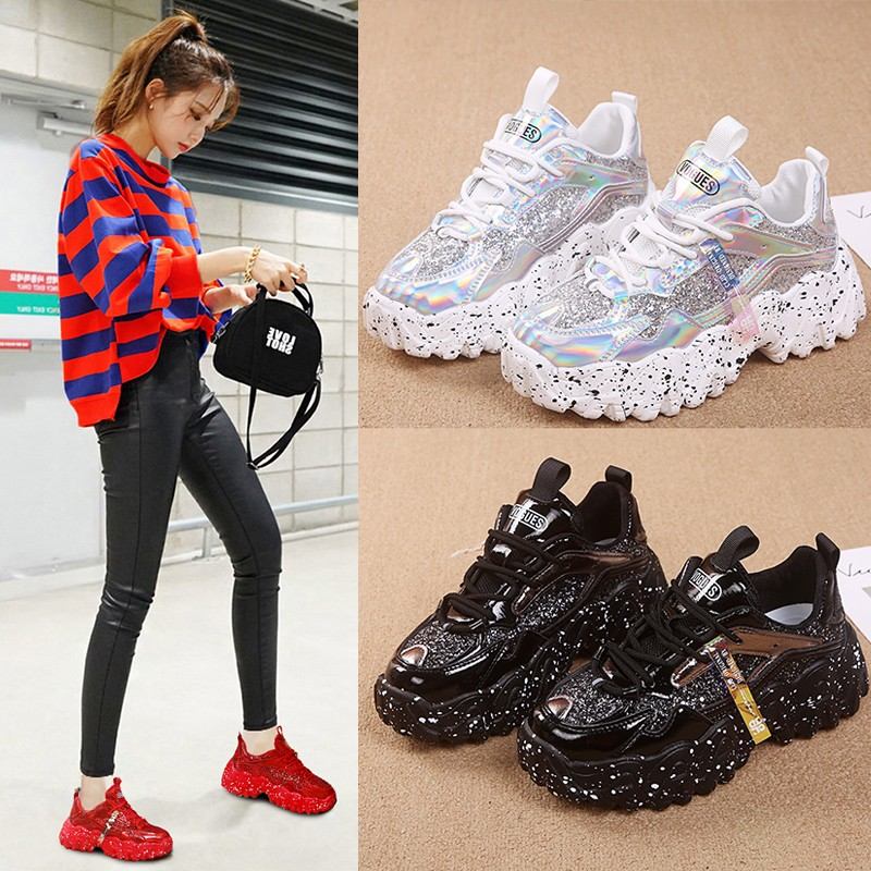 2020 Spring New Womens Casual Shoes Increase Womens Vulcanized Shoes Luxury Sneakers Fashion Wild Womens Shoes Glitter Sneakers