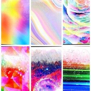 Image 5 - הולוגרפית צבעוני נייל רדיד להבה Holo נייל אמנות העברת עצמי דבק להבה נייל מדבקות שקופיות נייל אמנות מדבקות