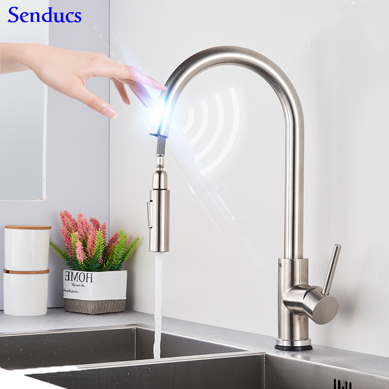 Touch Kitchen Faucet Senducs Pull Down Stainless Steel Kitchen Sink Faucet Intelligent Brushed Sensor Kitchen Sink Mixer Tap