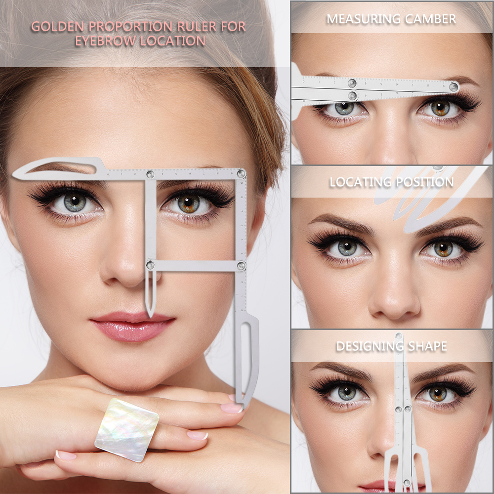 Stainess Steel Eyebrow Positioning Measurement Ruler Tattoo Calipers Microblading Permanent Makeup Gold Ratio DIY Measure Tool