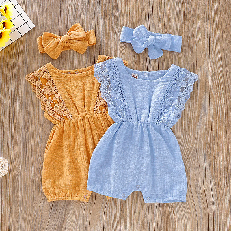 Baby Girl Lace Ruffle Solid Headband Jumpsuit  1Set Cotton Summer Baby Girl Sunsuits Toddler Baby Girl Bodysuit Outfits