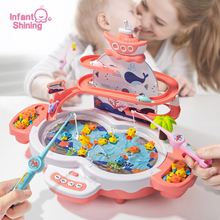 Infant Shining Kids Electric Fishing Toy Pool Baby 2-3 Years Old Boys and Girls Magnetism Fishing Suit Fishing Game for Children infant shining scooter children to the 2 3 6 10 years old children three round folding scooters flash slide block toys