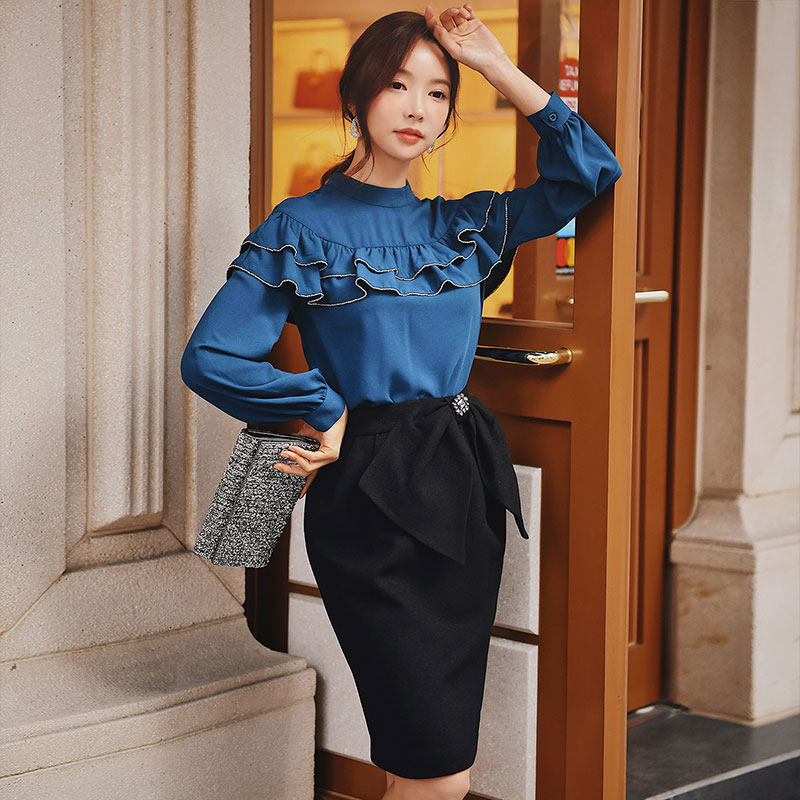Dabuwawa Elegant Black Solid Pencil Skirt Women Bottoms Fashion Bow Waist Basic Bodycon Skirts For Office Ladies D18DSK022