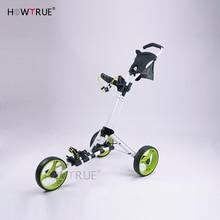 Golf Push Cart Swivel Foldable 3 Wheels Pull Cart Golf Trolley with Umbrella Stand Golf Cart bag carrier