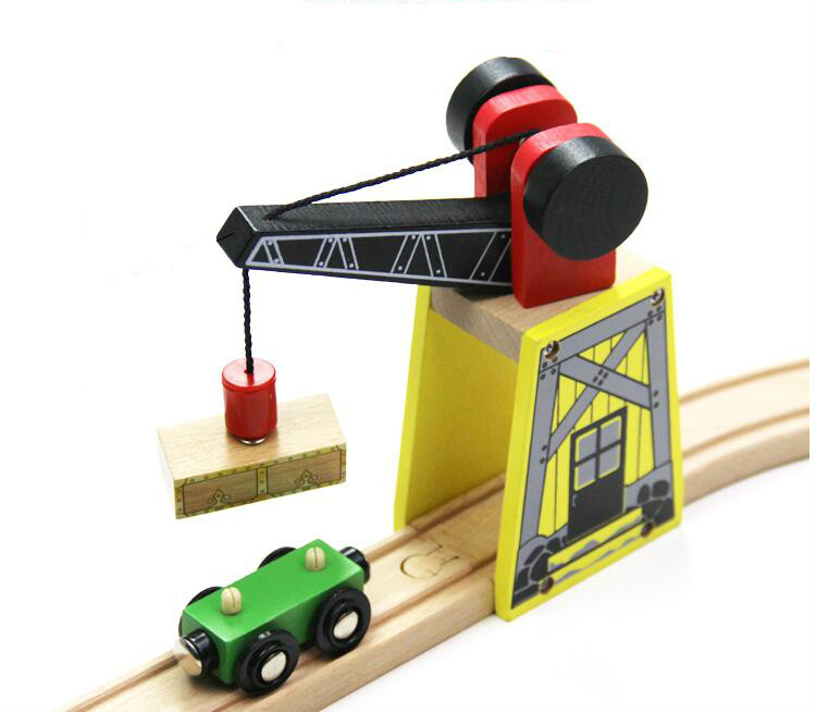 A Cool Gantry Crane Track Thomas Wooden Train Track Railway Accessories Crane House Tender Compatible All Wooden Track Railway