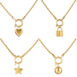 Stainless Steel Necklace 2021 Long Chain Necklace For Women Twist Chain Necklace Hollow Heart Pendant Necklace Jewelry Gift