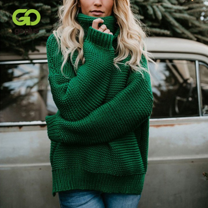 GOPLUS Autumn Winter Turtleneck Women's Knitted Sweater Plus Size Thick Warm Long Sleeve Women's Sweater Pullover Clothing Femme