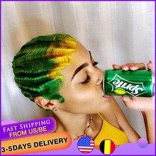 Amarillo dedo onda Bob corto pelucas de cabello humano máquina corte Pixie pelucas para mujeres negras Natural #613 # 99J Color