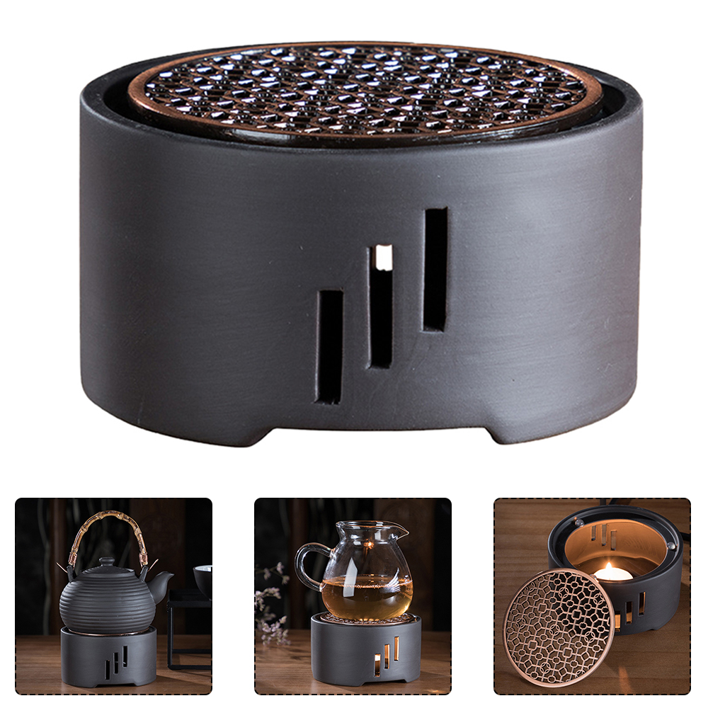 1PC Ceramic Candle Stand Tea Heater Tea Stove Milk Warmer Candle Holder With Mat Without Candle For Home Cafe Tea Warmer Hollow