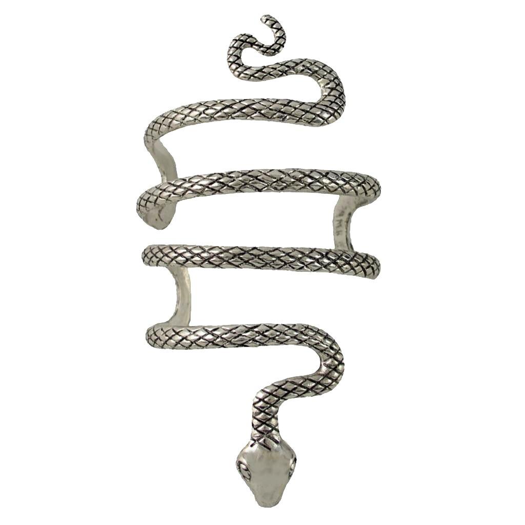 Circled Snake on Arm Open Bangle Evil Sign Charm Long Bracelet for Men Women