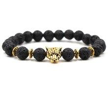 Charm Natural Stone Bracelet Leopard Head Beaded Handmade Men Women Elastice Bracelets  Unisex Fashion Jewelry Pulseira Feminina