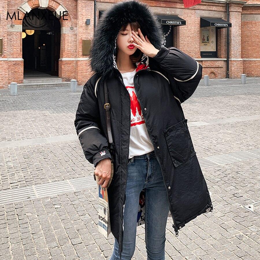 Wear On Both Sides Winter Long Jacket Women Fur Hooded Cotton   Parka   Coat Thicken Warm Female Jackets Korean Plus Size Overcoats