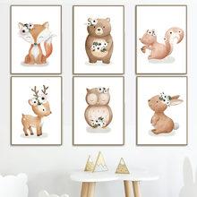 Лиса белка медведь олень кролик животные настенная Картина на