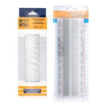 10 pçs/lote placa de pão 830 ponto solderless pcb placa MB 102 mb102 teste desenvolver diy branco/transparente