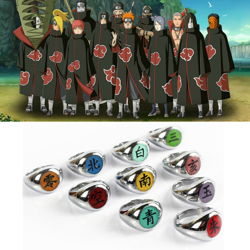 10style Anime HOKAGE Naruto Akatsuki cosplay Rings Sasori Itachi Hidan Deidara Pein accessories Prop|Costume Props|   - AliExpress