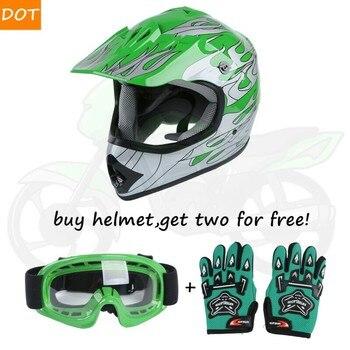 Motorcycle Youth Kids Helmet Green Flame Dirt Bike ATV Motocross Helmet MX+Goggles+Gloves capacete moto Gifts full face kask 2