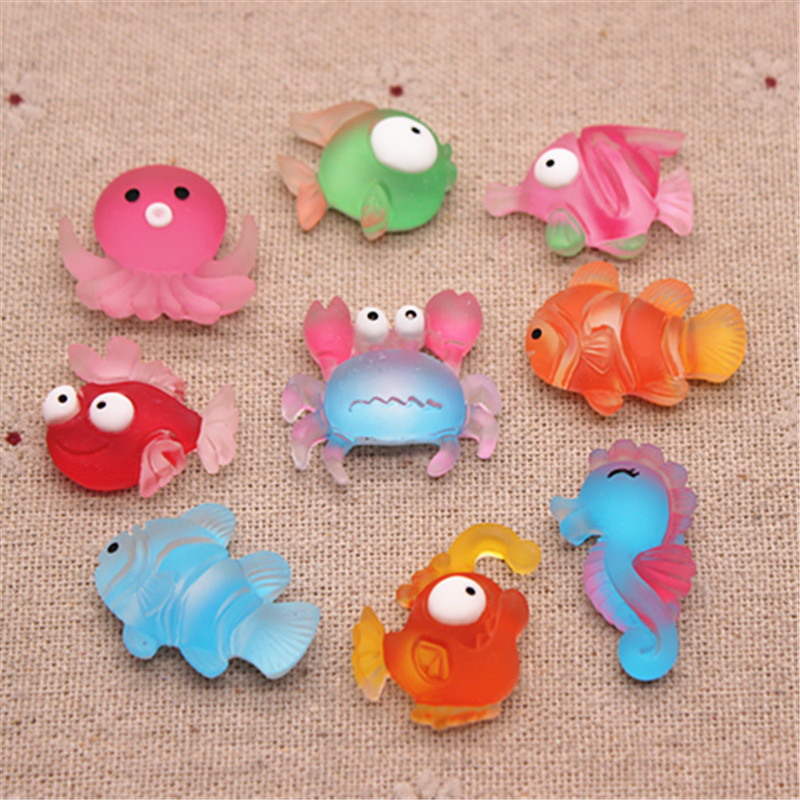 10pcs New Cute Resin Marine Animal Fish/Jellyfish/Crab/Seahorse Flatback Cabochon Charm DIY Phone/Craft Decoration Accessories