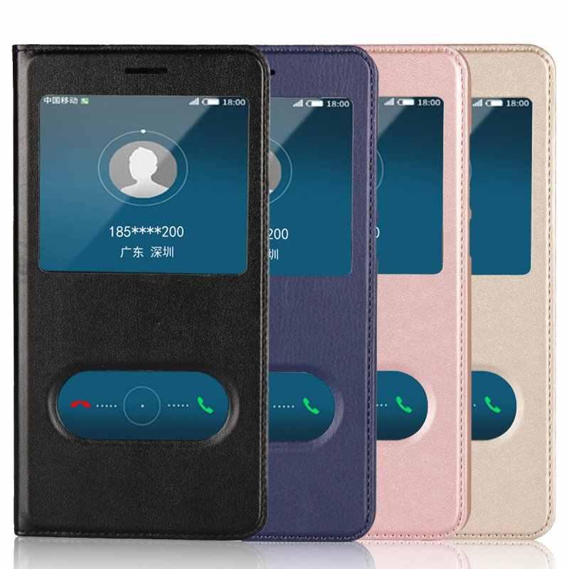 Window Case For Huawei Y6 II Flip Cover Case For Coque Huawei Y6II ...