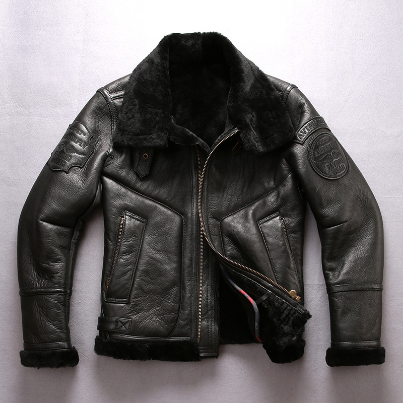 2020 New Men Shearling Genuine Leather Sheepskin Jacket Casual Wool Liner Winter Russia Coats