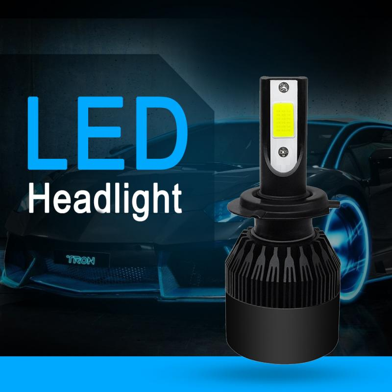 2019 New LED Headlight Bulbs COB H7 C6 72W 8000LM LED Car Headlight Kit Turbo Light Bulbs 6000K Black Car Accessories Hot Sale