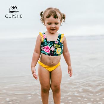 CUPSHE z kwiatowym wzorem potargany Bandeau Tank Top zestawy Bikini dla dziewczynek 2020 maluch dzieci dzieci stroje kąpielowe kostiumy kąpielowe 2-12 lat tanie i dobre opinie Pasuje prawda na wymiar weź swój normalny rozmiar CN (pochodzenie) Floral TC40010M W połowie pasa spandex Multi Two Pieces Sets