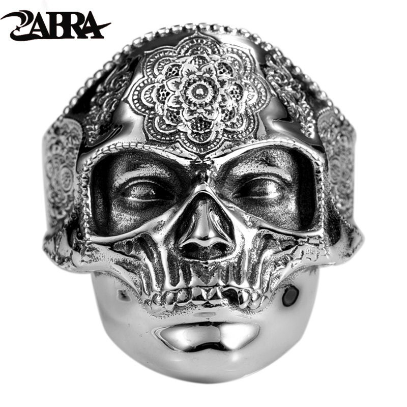 ZABRA Gothic Lotus Mask Big Skull Ring For Men Adjustable Real 925 Sterling Silver Vintage Puck Rock Hip Hop Biker Rings Jewelry