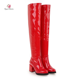Original Intention Stylish Winter Over the Knee High Patent Leather Boots Woman Pointed Toe Square Heels Boots Woman Metal Color