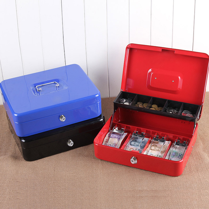 Portable Safes Storage Cash Box Money Drawer Key Lock / Password Lock Safe Lock Tiered Tray Security Metal Box 30 X 24 X 9cm