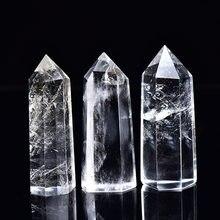 Cristal de Quartz clair naturel, Point de méditation, guérison, Reiki, bâton, ornement, décoration de maison, cadeau