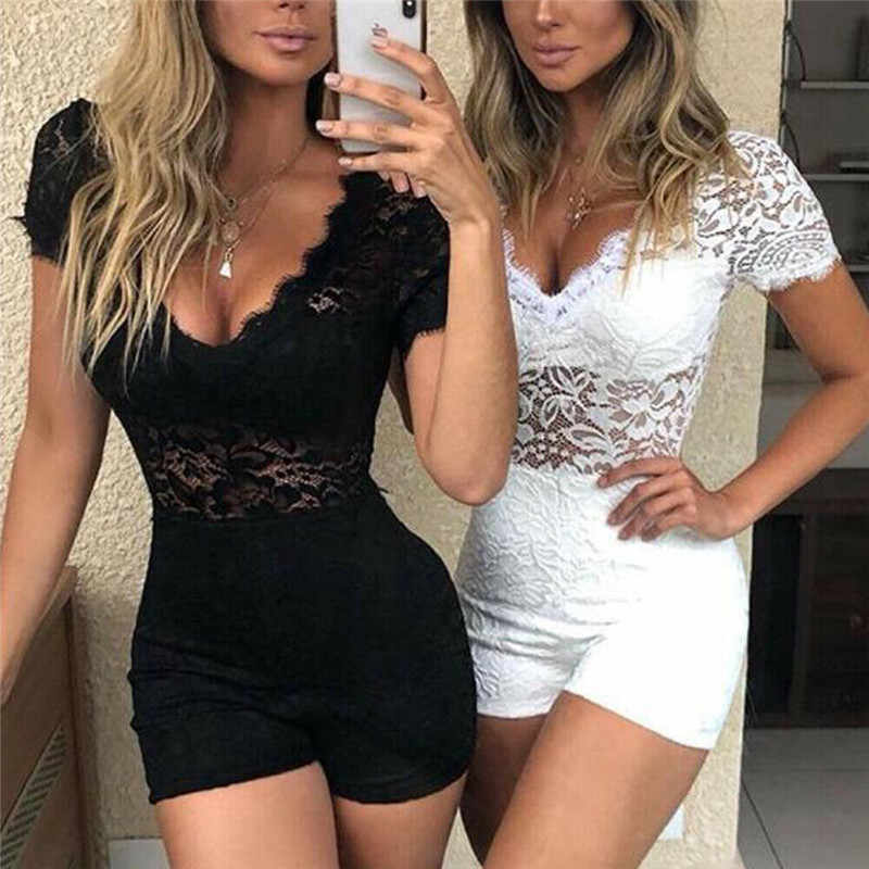 Lady Sheer Lace Bloemen Sexy Vrouwen Playsuit Jumpsuit Hot Zomer V-hals Korte Mouw Bodycon Romper Chic Party Outfits Kleding set