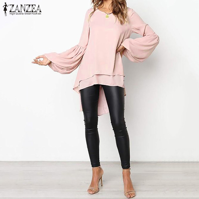 Women  Lantern Sleeve Blouse ZANZEA Autumn Crew Neck Asymmetrical Hem Shirt Casual Solid Blusas Femininas Long Tops Tunic Robe 7